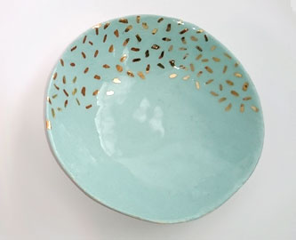 Jewelry Bowl with Real Gold