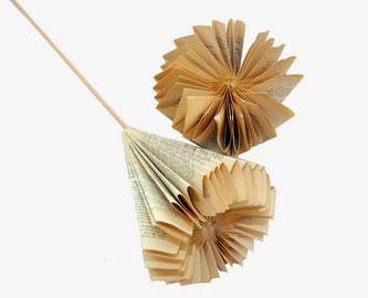 Vintage paper folded book flower