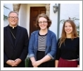 The Most Rev. Robert Barron, Marya Garneau ('21), and Erica Johnson ('21)