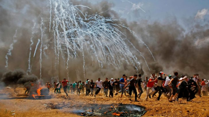 raining teargas in gaza