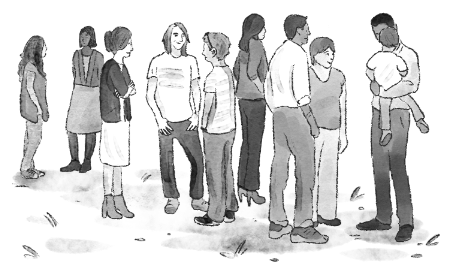 An illustration of a variety of people standing around and talking