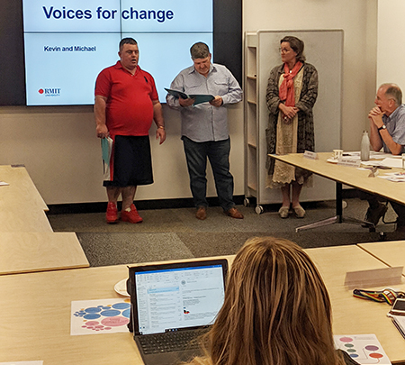 Self-advocates Kevin and Michael running the Voices for Change workshop