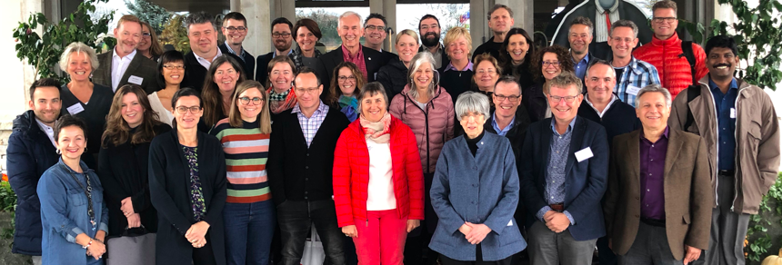 Researchers from around the world gather at the CPSR-hosted Stroke Recovery and Rehabilitation Roundtable in 2018 in Saint-Sauveur, Quebec.
