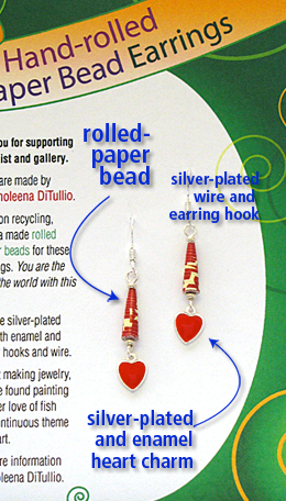 Valentine's Day earrings made with hand-rolled paper beads