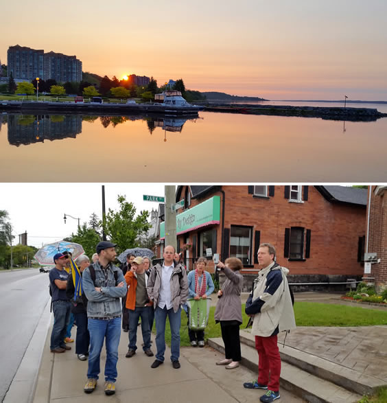 Barrie Harbour & Conference delegates outside Coffee Shop in Barrie, Canada