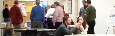 people milling around talking