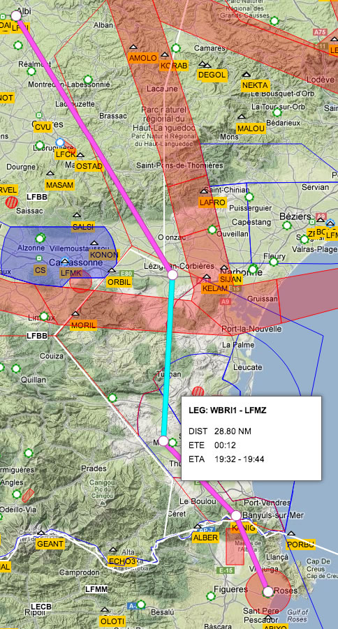 VFR Route Drawn