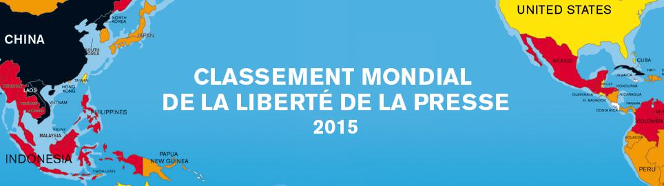 RSF publie le Classement mondial de la liberté de la presse 2015
