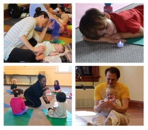 4 images of kids and family yoga