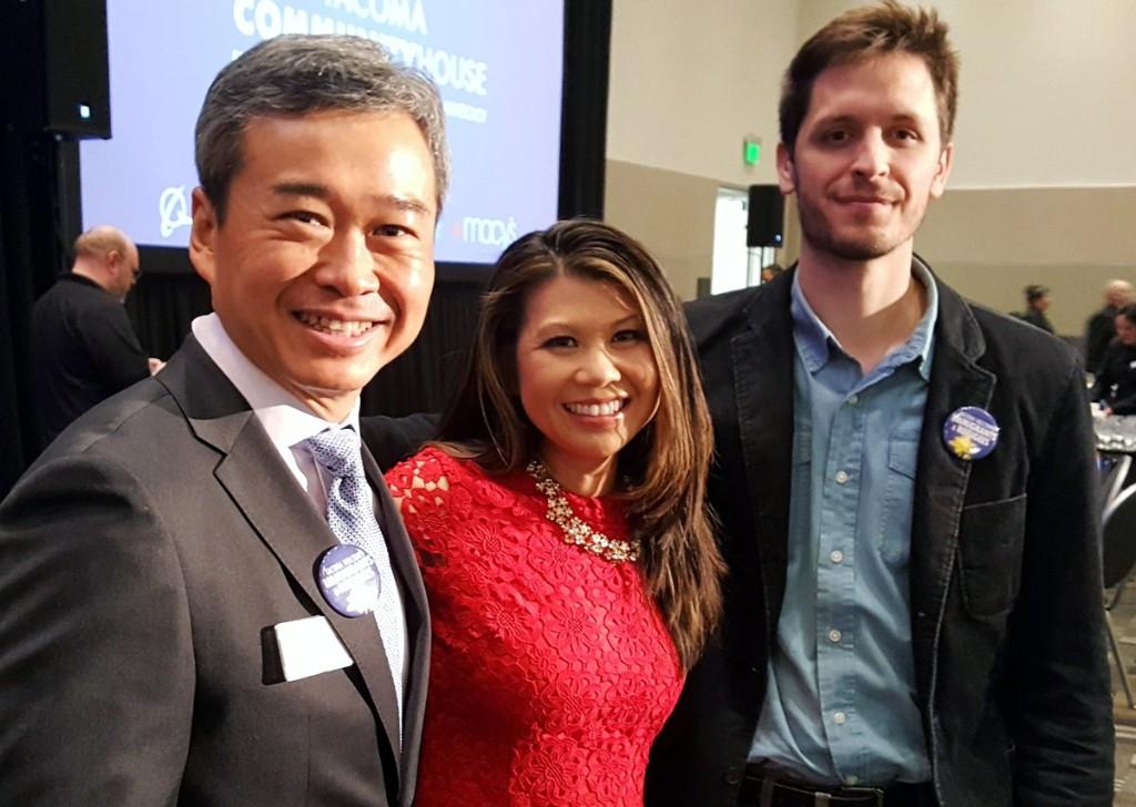 TCH Board member Clay Zhang, KIRO 7's Siemny Kim, and local portrait artist Jonathan Hanks.