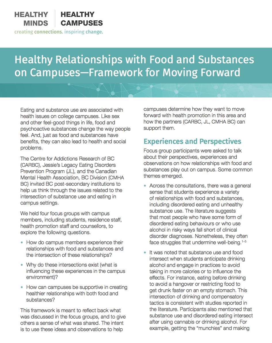 Food and Substance Use Framework