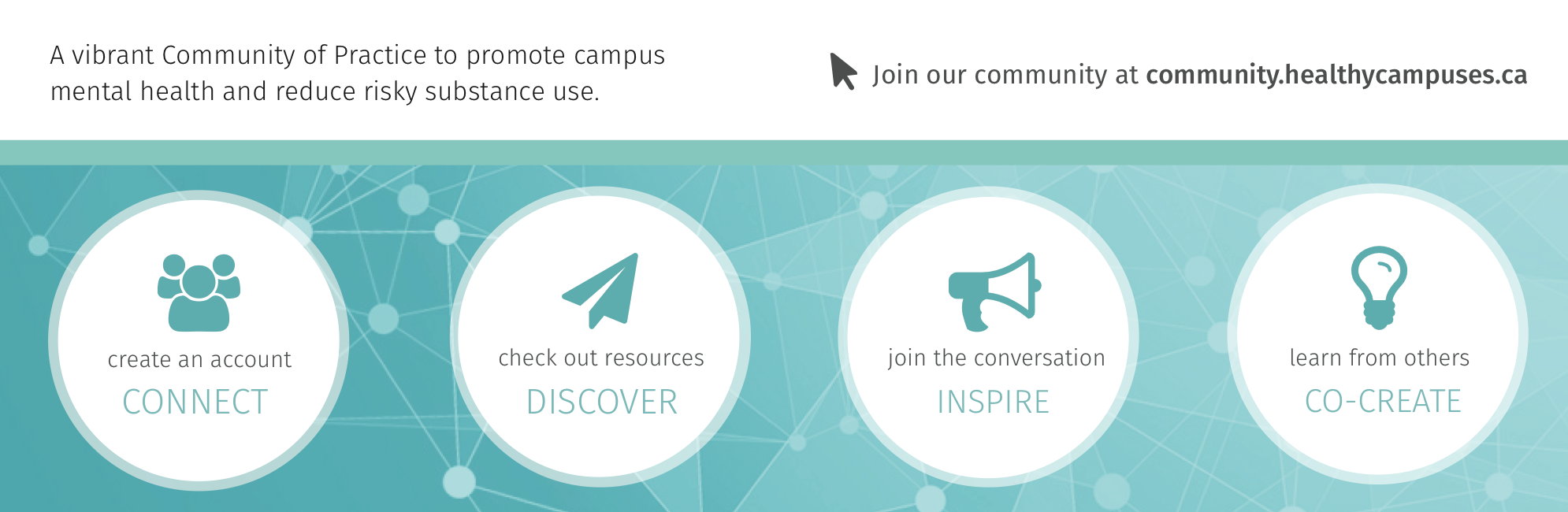 Join our online community at community.healthycampuses.ca