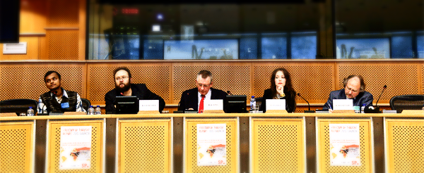 (Left to right) Siddhartha Dhar (Bangladesh blogger), Bob Churchill (IHEU), Dennis de Jong MEP, Elizabeth O'Casey (IHEU), and Heiner Bielefeldt (UN Special Rapporteur) at the European Parliament launch of the Freedom of Thought Report 2015.