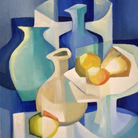 Still life painting of vases and fruit