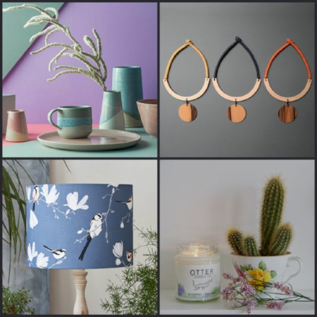 Products at the Christmas Fair: ceramic tableware, necklaces, lampshade and candle