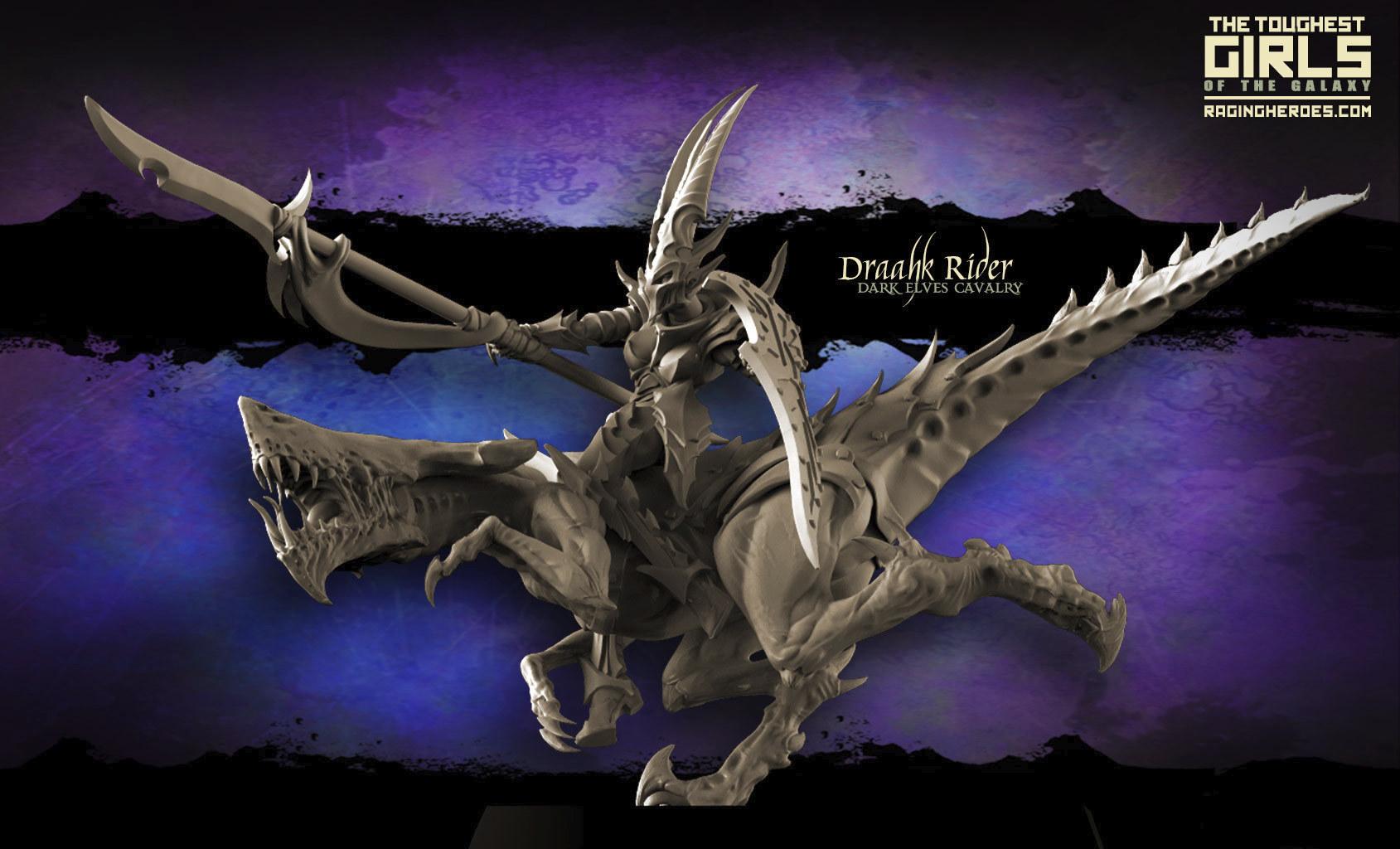 Draahk Riders Dark Elves Cavalry miniatures