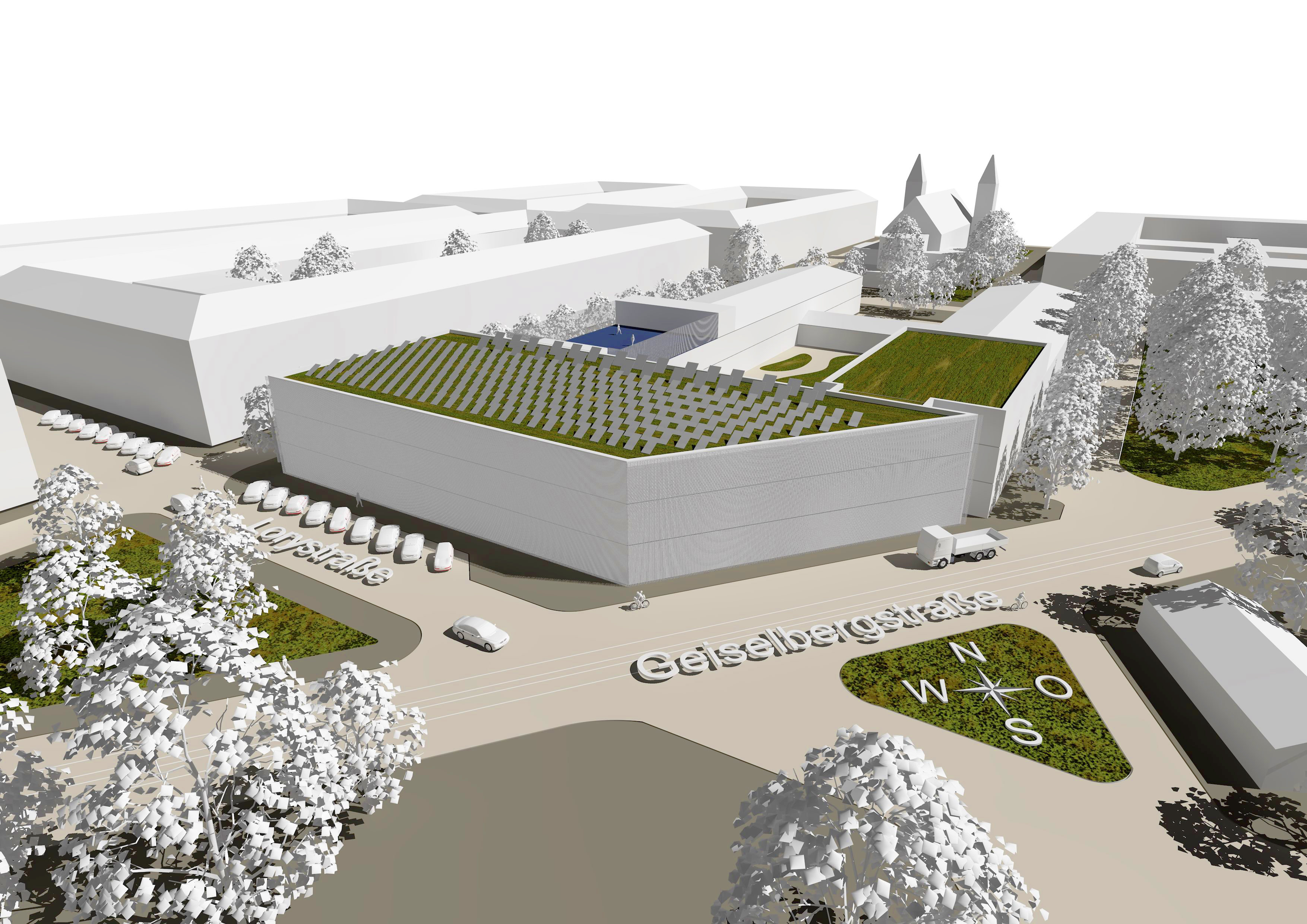 3D-Modell des neuen Turnsaaltraktes der NMS Enkplatz i+II