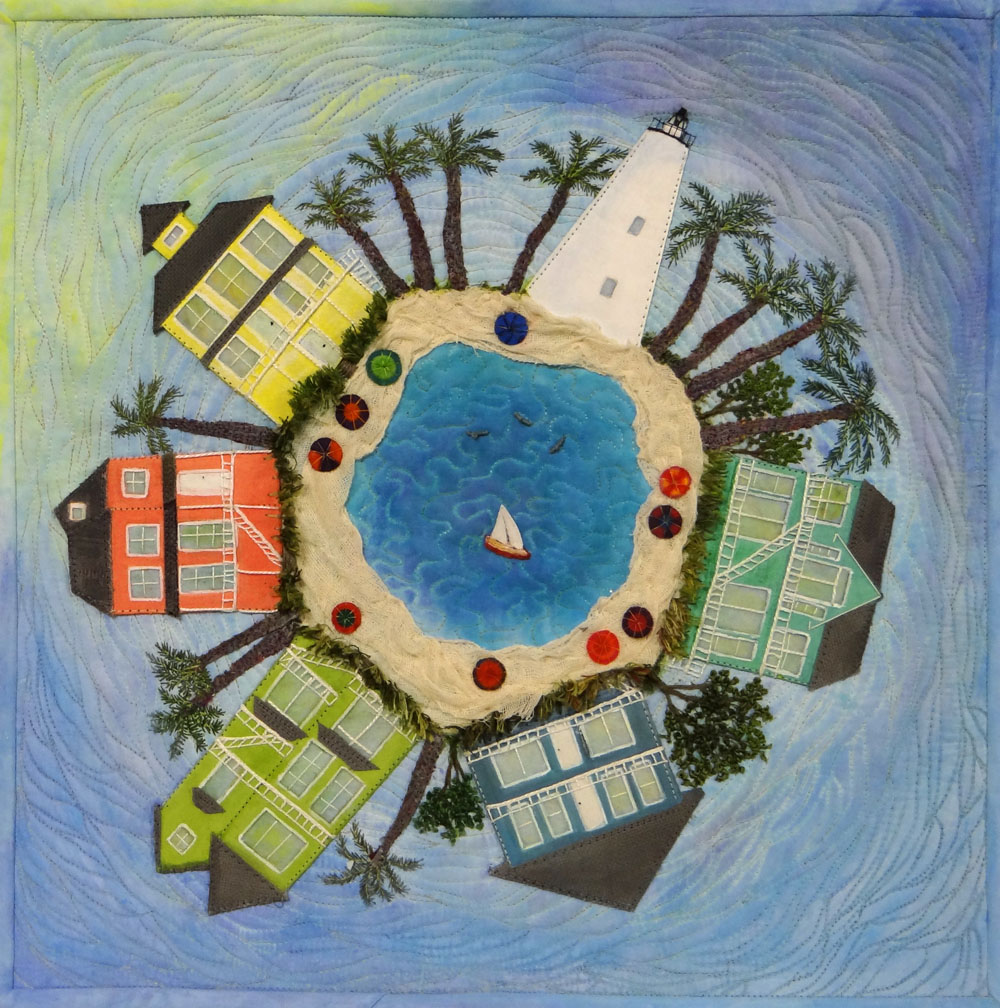 """Summer at the Beach"" Hanging Art Quilt"