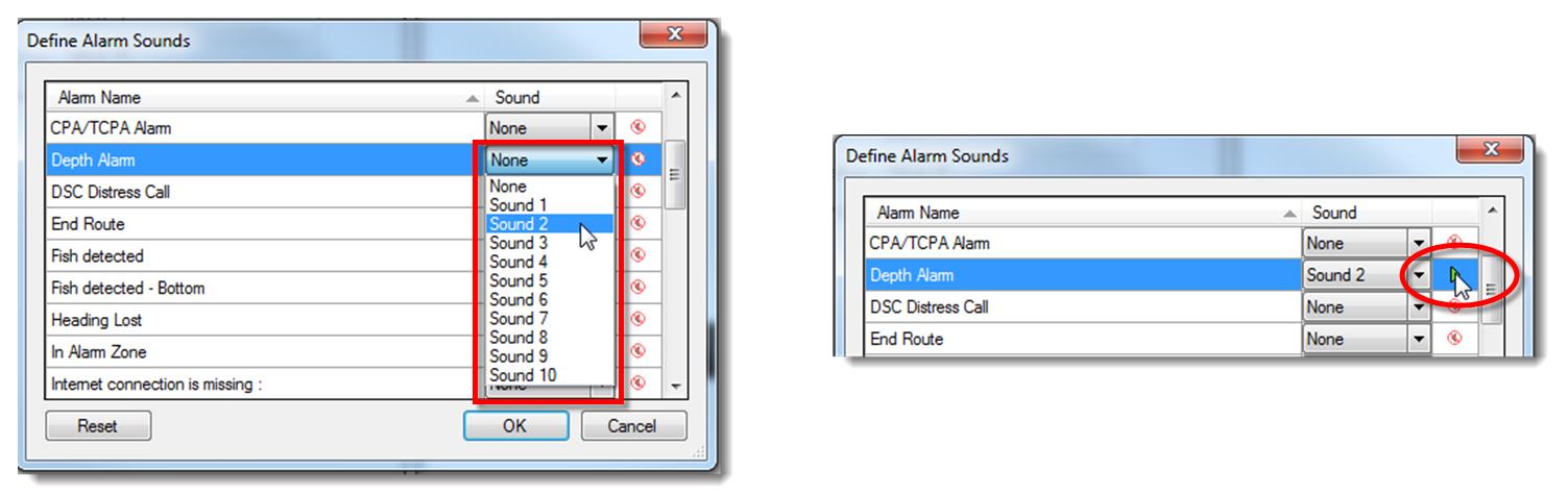 MaxSea alarm sounds