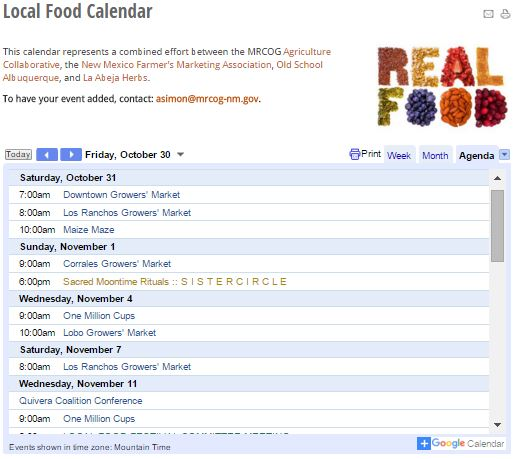 Local Food Calendar @ localfoodnm.org