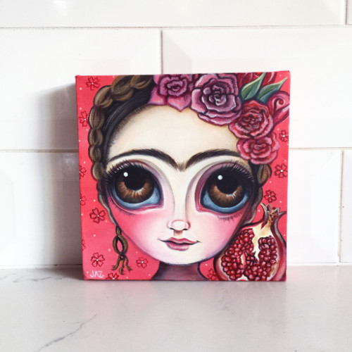 http://www.artbyjaz.com/collections/original-paintings/products/frida-and-the-pomegranate-original-painting