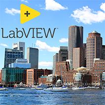 Boston skyline with LabVIEW logo