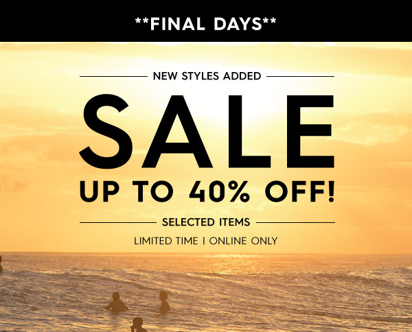 Quiksilver big save up to 40% off selected items + new styles added.