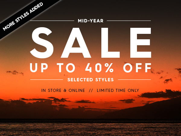 Mid year sale - save up to 40% off selected items + new styles added at Quiksilver.