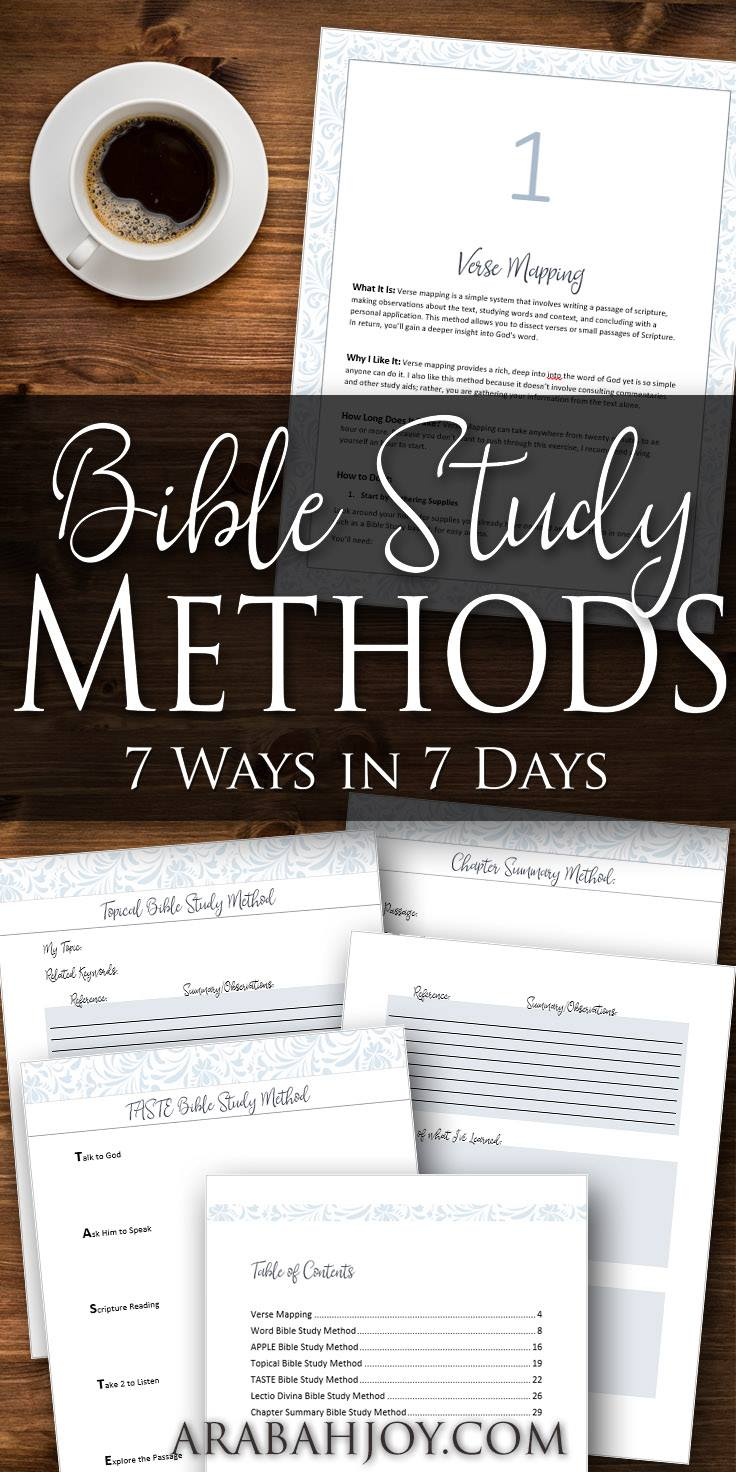 Learn how to study God's Word on your own through this video course by Arabah Joy that will teach you 7 Bible Study Methods in 7 days!