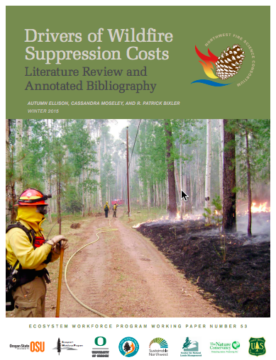 "Cover: ""Drivers of Wildfire Suppression Costs"""