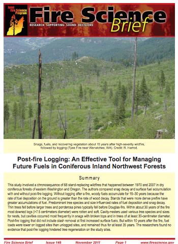 PostFire Logging Fire Science Brief