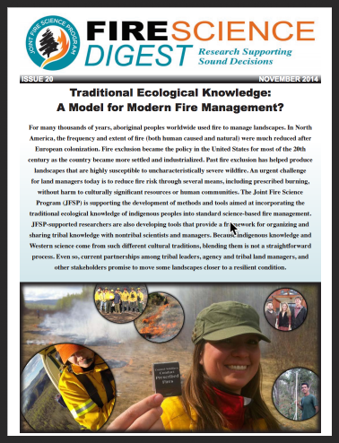 Traditional Ecological Knowledge for Modern Fire Management - New Fire Science Brief