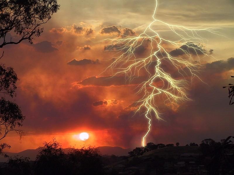Photo: Lightning and smoke