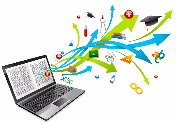 Illustration of laptop with knowledge icons
