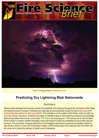 Predicting Dry Lightening Risk Nationwide - Fire Science Brief