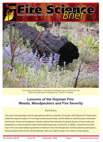 Lessons of the Hayman Fire - Fire Science Brief