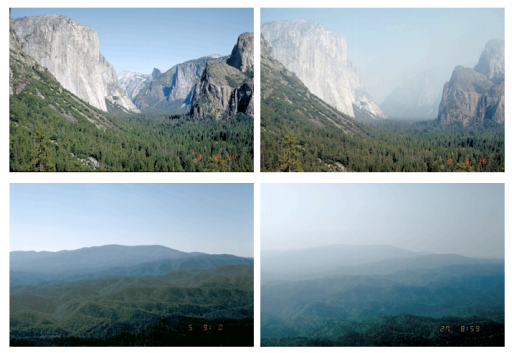Four photos of IMPROVE website of pristine vs. degraded air quality in National Parks reflecting haze from wildland fire, other pollutants, or both.