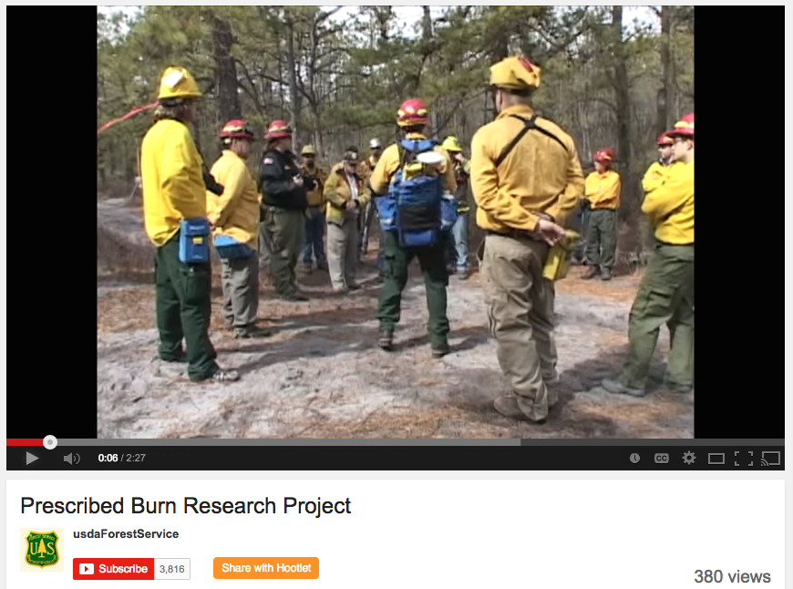 Screen capture of prescribed burn research project video