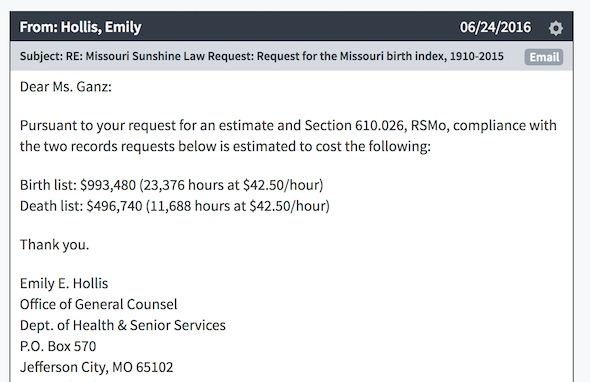 Screenshot of invoice from Missouri DHSS