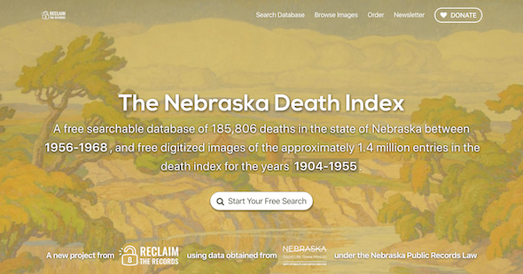 Screenshot of NebraskaDeathIndex.com