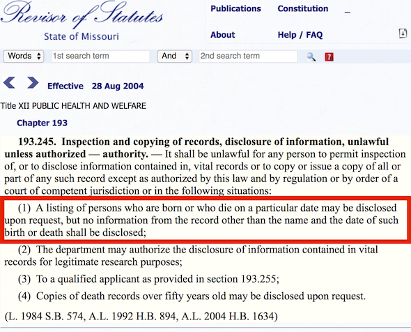 Screenshot of Missouri laws about vital records