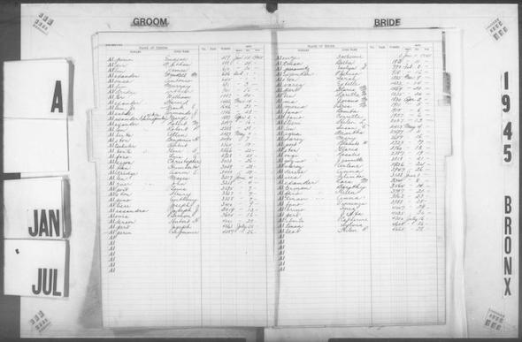 Page from the Bronx marriage index for 1945