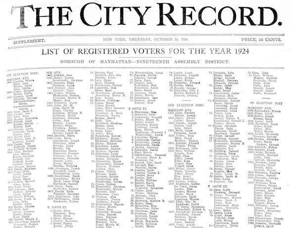 Photo of the City Record for 1924