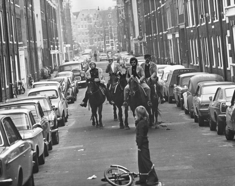 Four horsemen riding through the streets of Amsterdam in 1973 during a 'Car-Free Sunday' introduced in response to the 1970s oil crisis.