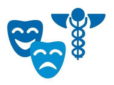 Theatre masks and caduceus