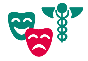 Drama masks and health symbol