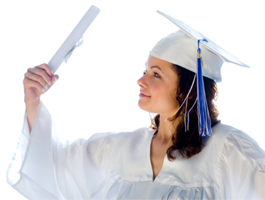 A female student wearing a white graduation cap and gown.