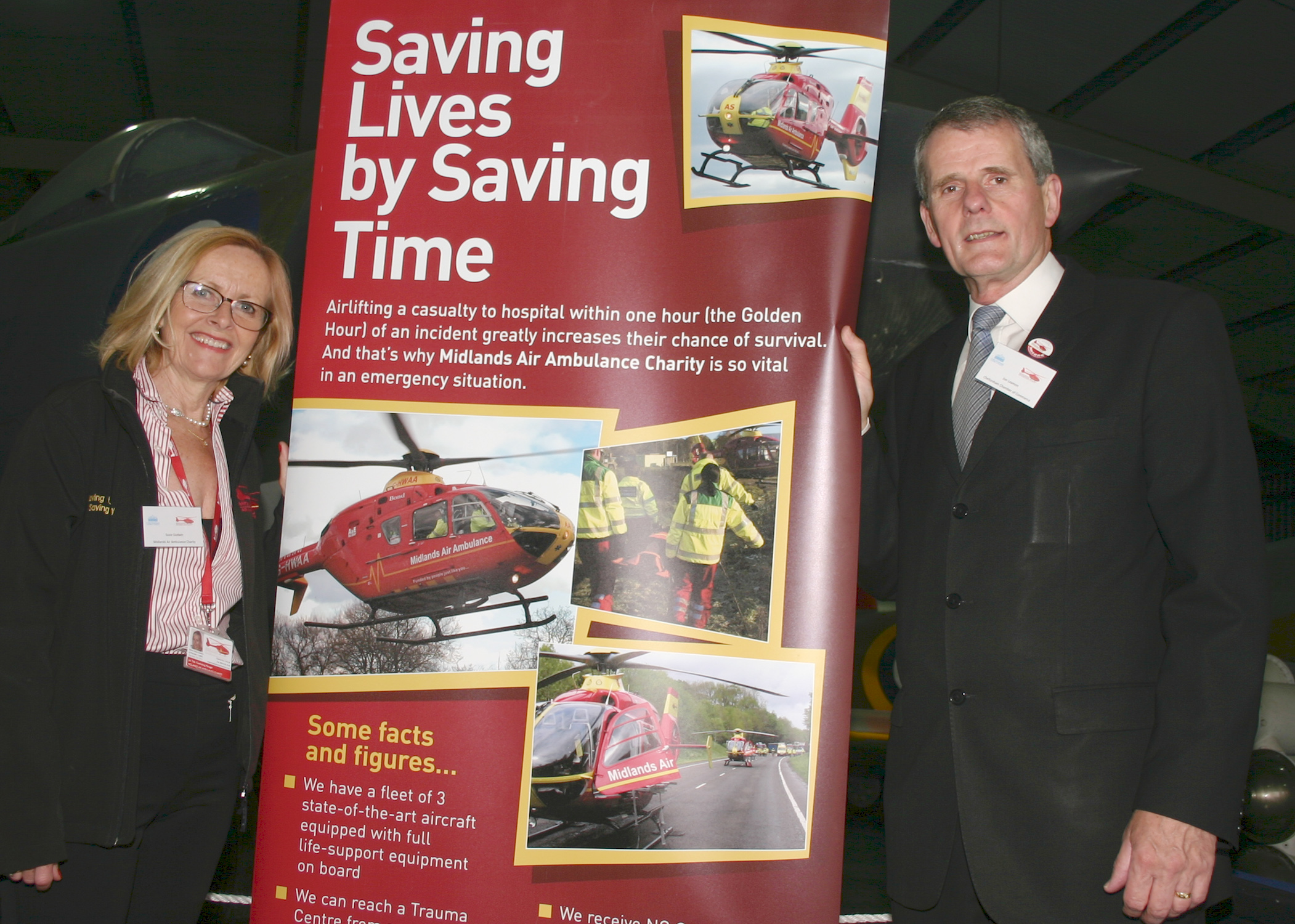 Susie Godwin, Midlands Air Ambulance, and Jon Leamon, Chelt. Chamber