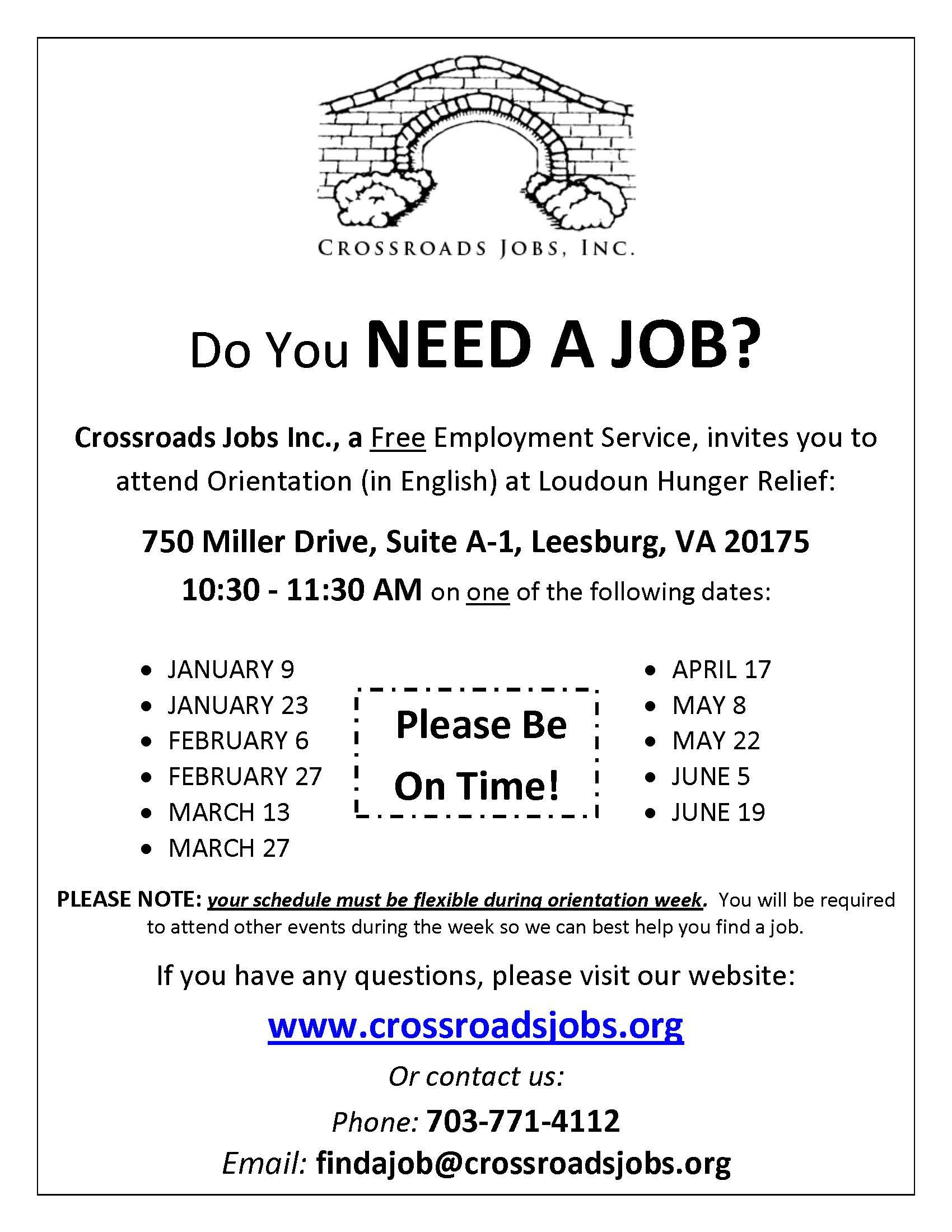 Crossroads Jobs is a free employement service in Loudoun County.