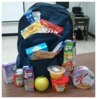 photo of school backpack full of portable food and snacks
